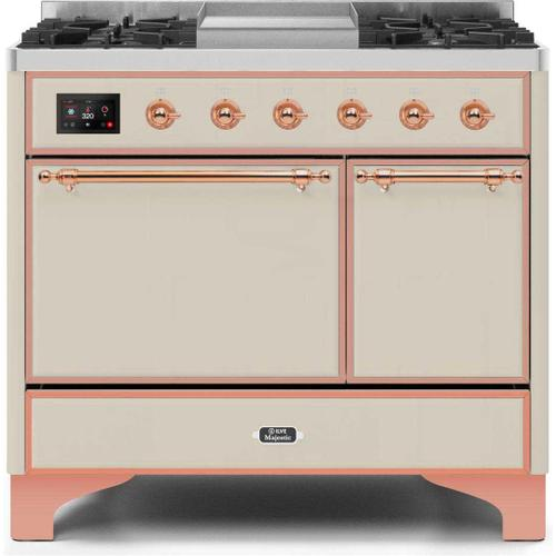 Ilve - Majestic II 40 Inch Dual Fuel Natural Gas Freestanding Range in Antique White with Copper Trim