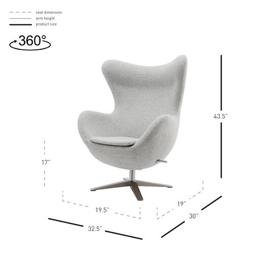 Max Fabric Swivel Rocker Accent Arm Chair Chrome Legs, Cardiff Gray