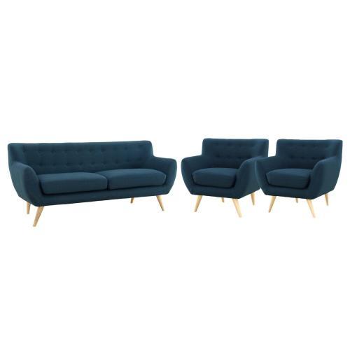 Remark 3 Piece Living Room Set in Azure