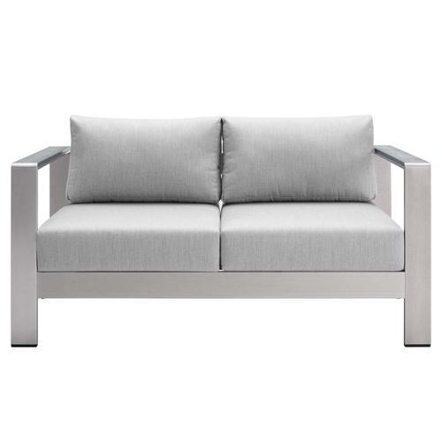 Shore Sunbrella® Fabric Aluminum Outdoor Patio Loveseat in Silver Gray