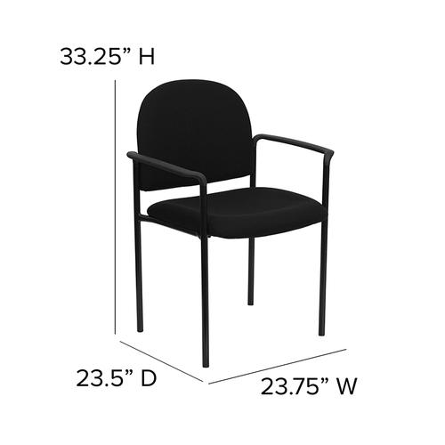 Gallery - Comfort Black Fabric Stackable Steel Side Reception Chair with Arms