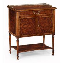 Mahogany bedside table with brass gallery