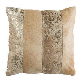 Blair Metallic Cowhide Pillow - Beige / Gold