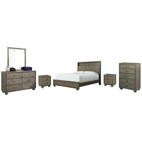 Queen Bookcase Bed With Mirrored Dresser, Chest and 2 Nightstands