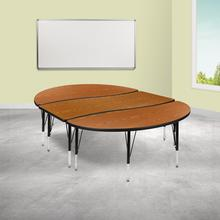 """See Details - 3 Piece 86"""" Oval Wave Flexible Oak Thermal Laminate Activity Table Set - Height Adjustable Short Legs"""