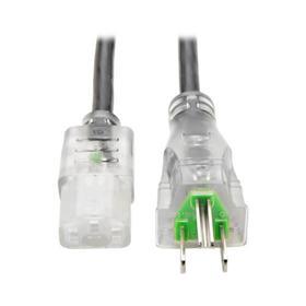 Hospital-Grade Power Cord, NEMA 5-15P to C13 - Green Dot, 13A, 125V, 16 AWG, 10 ft. (3.05 m), Clear Plugs