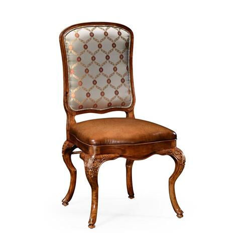 Walnut side chair with DV medium antique chestnut leather seat and fabric back