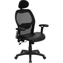 View Product - High Back Black Super Mesh Executive Swivel Office Chair with Leather Seat and Adjustable Lumbar & Arms