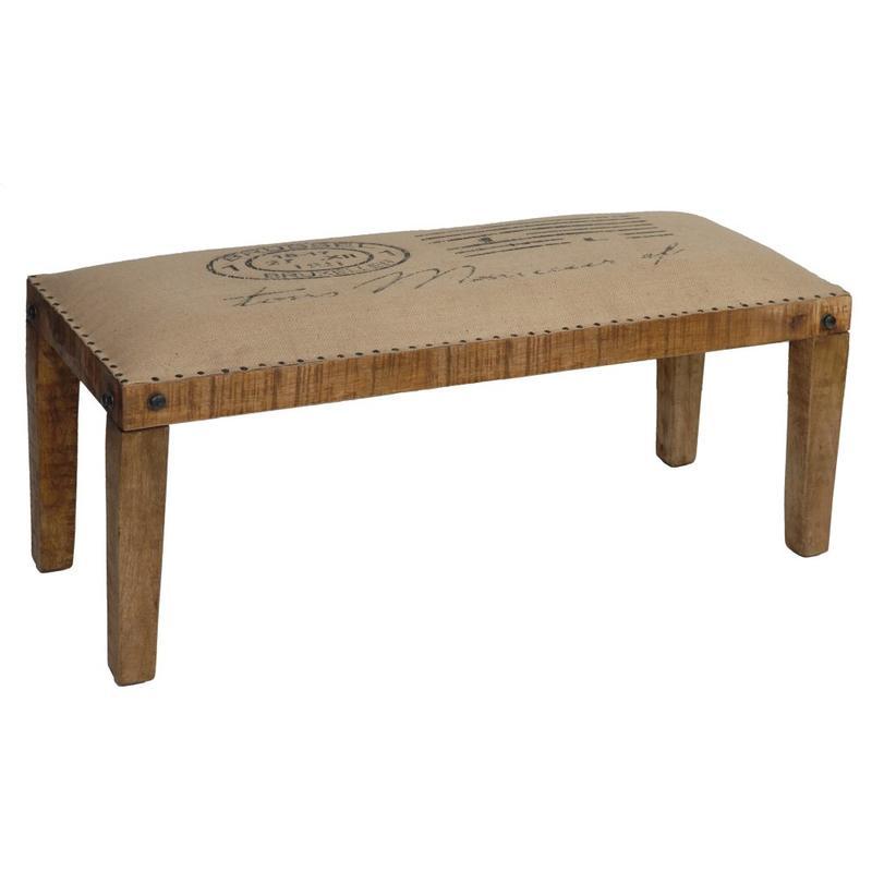 See Details - Bengal Manor Mango Wood Burlap Bench