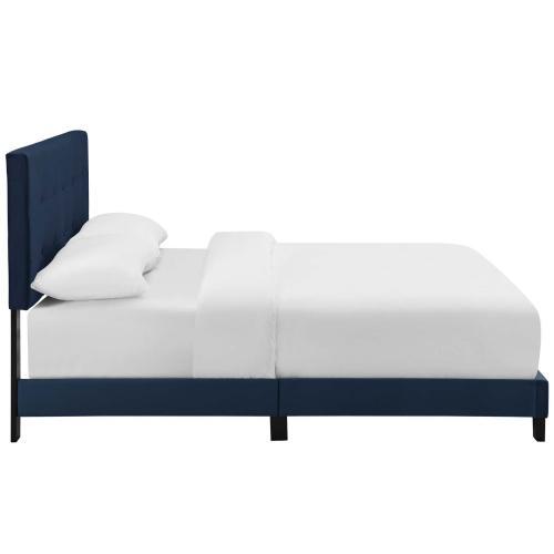 Amira Queen Performance Velvet Bed in Midnight Blue