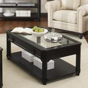 Farrington - Rectangular Glass Top Coffee Table - Black Forrest Birch Finish