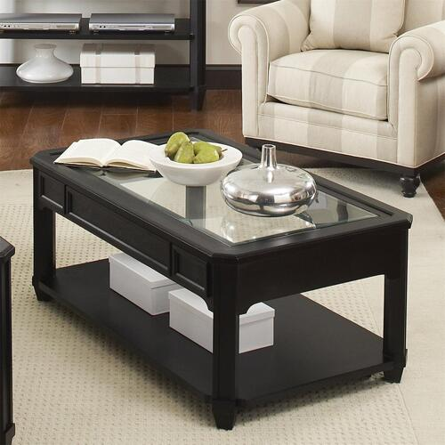 Farrington - Rectangular Glass Top Coffee Table - Black Forrest Birch Finish