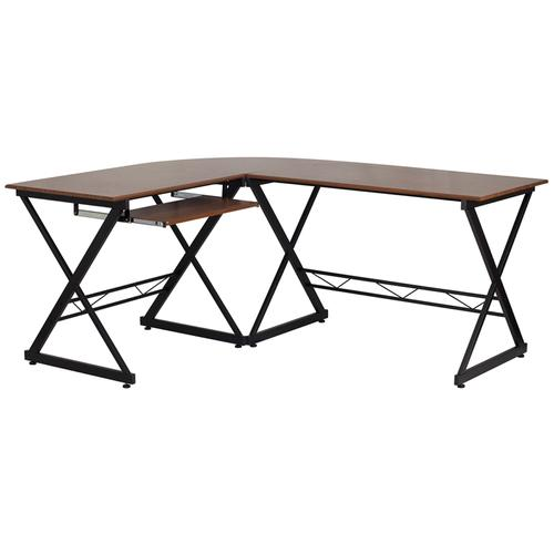 Flash Furniture - Teakwood Laminate L-Shape Computer Desk with Pull-Out Keyboard Tray