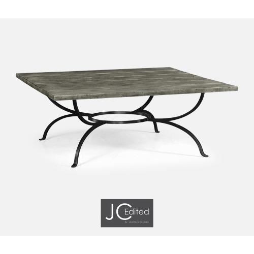 Antique Dark Grey Panelled Square Coffee Table