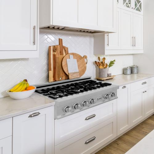 "Zline Kitchen and Bath - ZLINE 30"" Porcelain Gas Stovetop in DuraSnow® Stainless Steel with 4 Gas Burners (RTS-30) [Color: DuraSnow® Stainless Steel]"