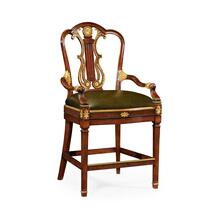 Neo-Classical Gilded Lyre Back Counter Armchair, Upholstered in Green Leather