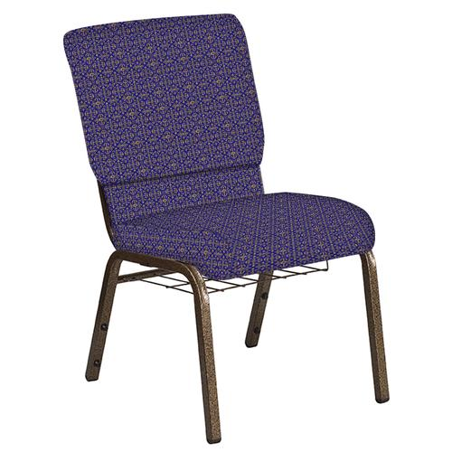 Flash Furniture - 18.5''W Church Chair in Abbey Jazz Fabric with Book Rack - Gold Vein Frame