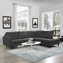 Empress 2 Piece Upholstered Fabric Right Facing Bumper Sectional in Gray
