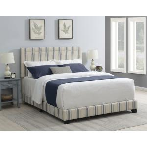 Nailhead Trim Upholstered Queen Bed in Cambridge Blue Stripe