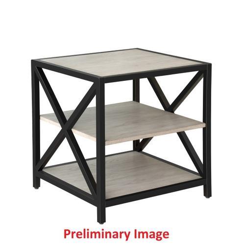Gray Ash Metal Framed Three Shelf End Table