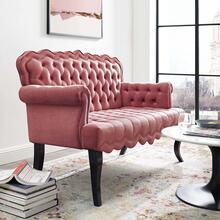 Viola Chesterfield Button Tufted Loveseat Performance Velvet Settee in Dusty Rose