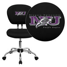 Niagara University Purple Eagles Embroidered Black Mesh Task Chair with Chrome Base