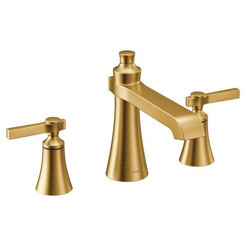 Flara brushed gold two-handle roman tub faucet