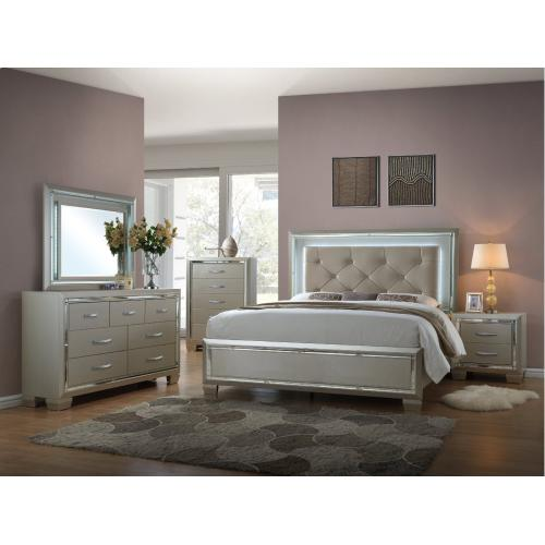 Platinum Bedroom - Queen Bed, Dresser, Mirror, Chest, and Night Stand