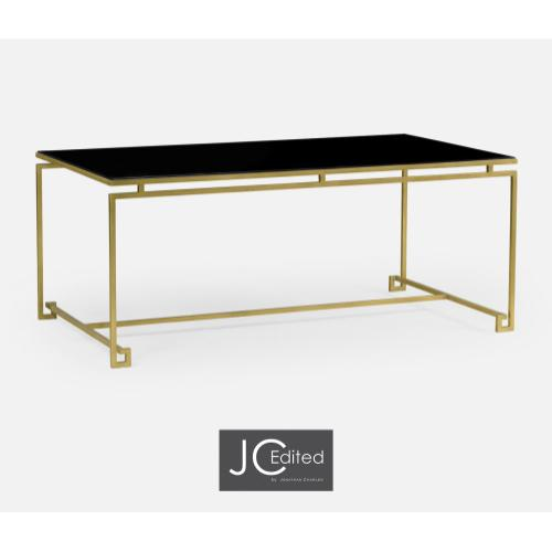 Gilded Iron Rectangular Coffee Table with A Black Glass Top