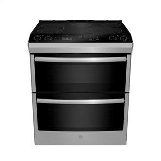 """GE Profile 30"""" Electric Slide-In Front Control Double Oven Convection Range Stainless Steel - PCS980SMSS"""