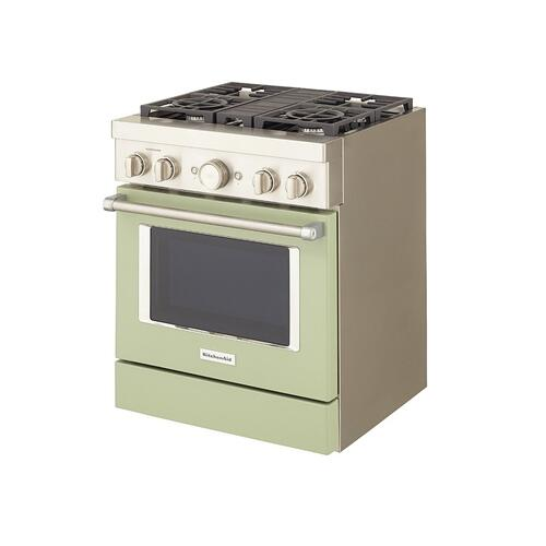 KitchenAid® 30'' Smart Commercial-Style Dual Fuel Range with 4 Burners - Avocado Cream