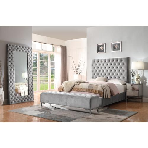 Lacey Upholstered Floor Mirror, Silver Gray B132-26-03
