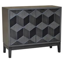 Humphrey Pewter Geometric Block Veneer 2 Door Cabinet