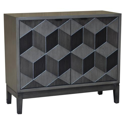 Product Image - Humphrey Pewter Geometric Block Veneer 2 Door Cabinet
