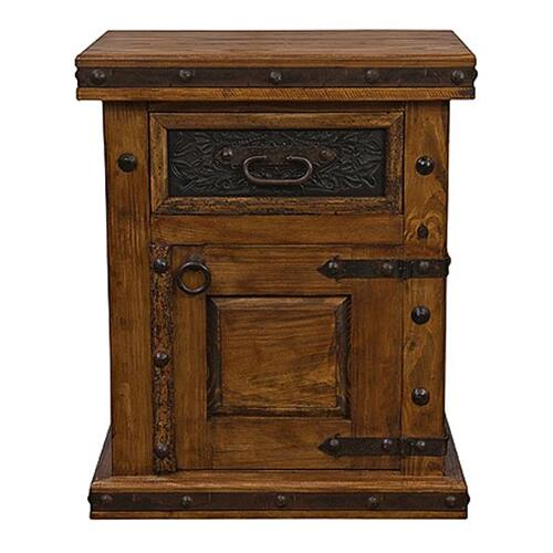 Door Nightstand W/Tooled Leather Left