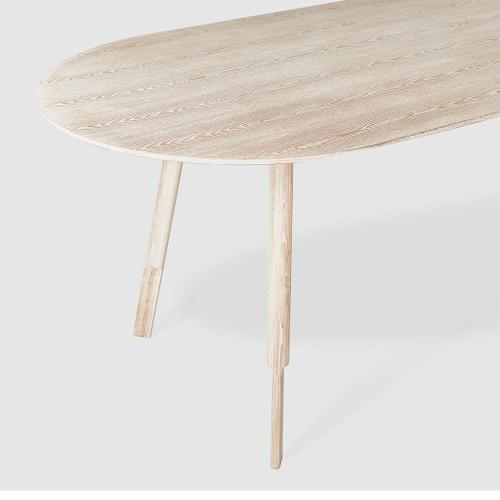 Bracket Dining Table - Oval White Wash Ash