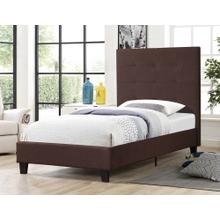 7566 BROWN Fabric Platform Bed - TWIN