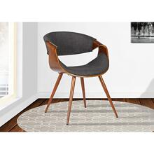 Armen Living Butterfly Mid-Century Dining Chair in Walnut Finish and Charcoal Fabric