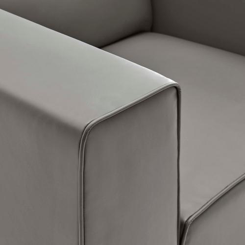 Modway - Mingle Vegan Leather Armchair in Gray