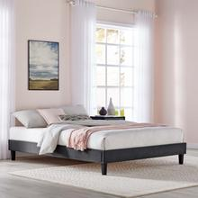 Reign Queen Performance Velvet Platform Bed Frame in Charcoal