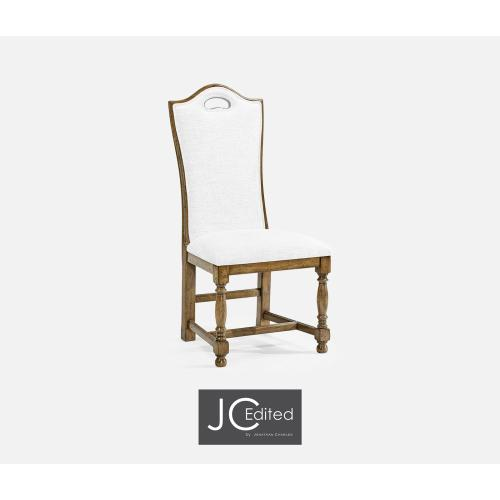 High Back Medium Driftwood Dining Side Chair, Upholstered in COM