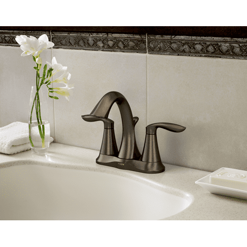 Eva Oil rubbed bronze two-handle high arc bathroom faucet