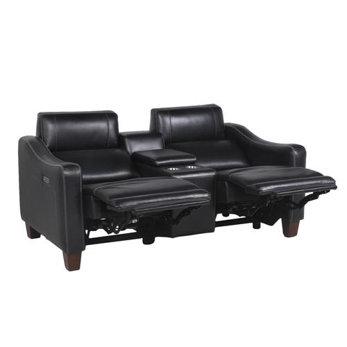 Giorno Dual-Power Leather Console Loveseat, Midnight