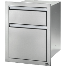 "18"" x 24"" Double Drawer: Waste Bin , Stainless Steel"