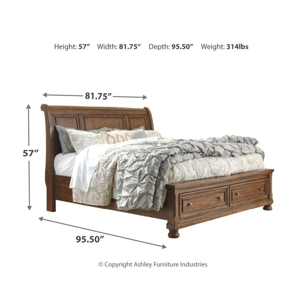 Flynnter King Sleigh Bed With 2 Storage Drawers