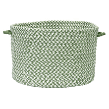 "Outdoor Houndstooth Tweed Basket OT68 Leaf Green 14"" X 10"""