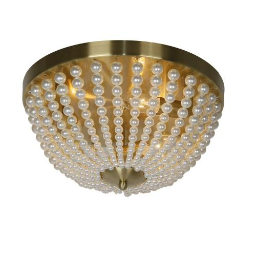 Product Image - 3lt Incandescent Flush-mount, Aged Brass W/ Pearls