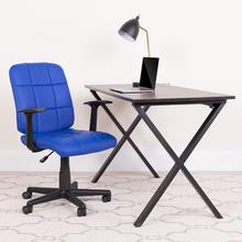 View Product - Mid-Back Blue Quilted Vinyl Swivel Task Office Chair with Arms