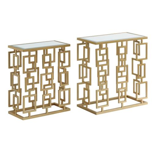 Maddox Rectangle Champagne Metal and Mirror Set of Tables