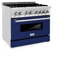 """See Details - ZLINE 36"""" Dual Fuel Range with Gas Stove and Electric Oven in Stainless Steel with Color Door Options (RA36) [Color: Blue Gloss]"""